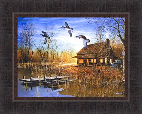 Passing Through by Jim Hansel 17x21 Wood Ducks Cabin Lake Boat Framed Art Print Wall Décor -