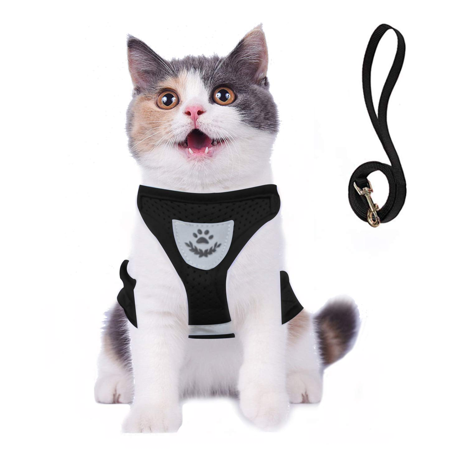 Cat Harness and Leash Escape Proof and Dog Harness Adjustable Soft Mesh Vest Harness for Walking with Reflective Strap…