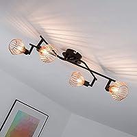 Lámpara de techo en diseño retro con tapa de rejilla de cobre, 4x G9 max. 33W, metal,…