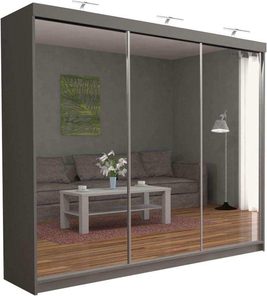Sliding Wardrobe 4u Modern Full Mirror 3 Sliding Door Wardrobe Chicago 250cm With Led Ligh Grey Amazon Co Uk Kitchen Home
