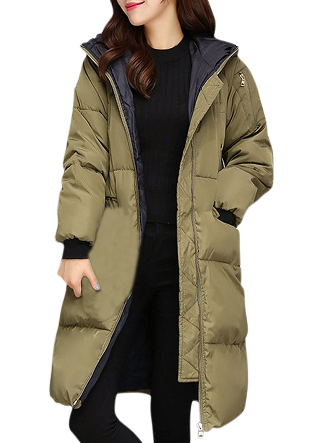 ACHICGIRL Women's Solid Color Zip Front Hooded Down Coat