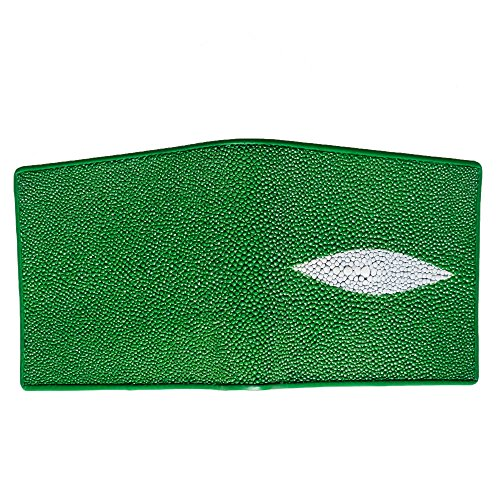 ID Bifold Wallet Stingray Leather Purse Window Exotic Holder Green Slim Genuine Coin qwxaUfnS