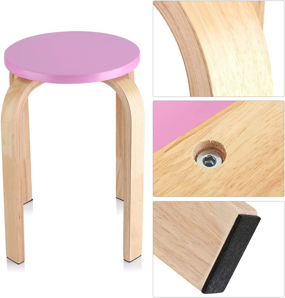 4 Colour to Choose Multiple Candy Colour Anti- slip Stool Simple Stable Cute Kid Room Decor Stool with 4 Bending Wood Legs Healthy Wood Chair Bent Wood Stacking Round Stool Green