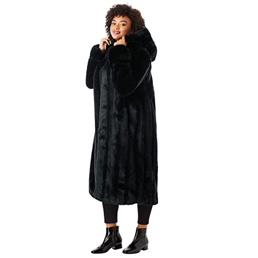 9f4edb5dc Roamans Women's Plus Size Full Length Faux-Fur Coat with Hood