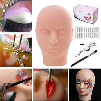 Amazon.com : Practice Training Head, TopDirect Mannequin Training Flat Head Rubber Practice Manikin Head Doll Face Eyelashes Makeup Massage with Training ...