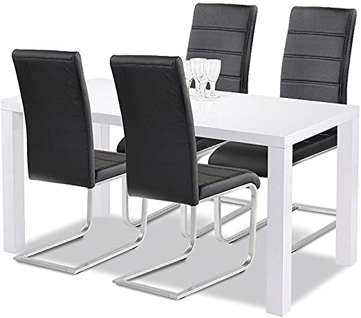 Agionda Goteborg 140 High Gloss White Dining Table And Chairs Set 1x Dining Table And 4x Cantilever Chairs In Black Amazon De Kuche Haushalt