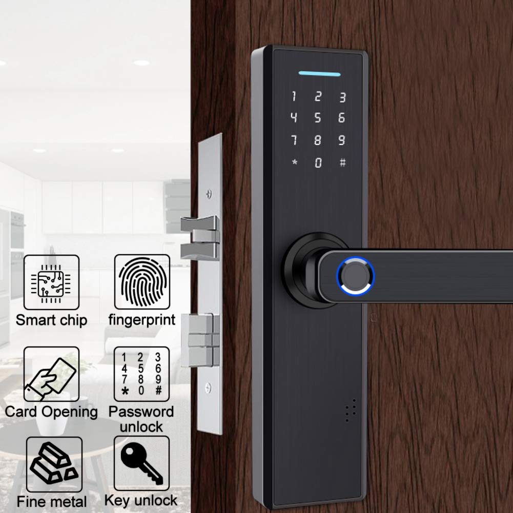 Fingerprint Door Lock, Black Smart Anti-Theft Card&Password&Key Security System for Home Office by Rosvola