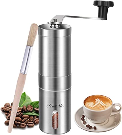 Manual Coffee Grinder Burr Coffee Grinder Adjustable stainless steel grinding core,Hand Crank Mill Office and Travelling Spices Brush Ideal for Home