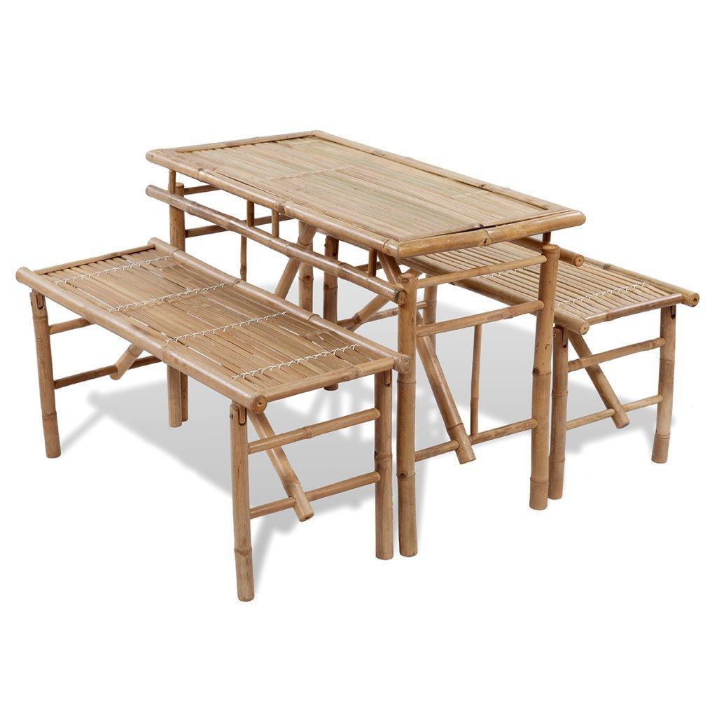 Festnight Picknicktisch Camping-Möbelset aus Bambus mit 2 Sitzbänken Zusammenklappbar