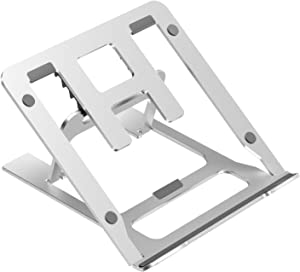 Ditucu Metal Laptop Stand for Desk, Folding Computer Table Tray Holder,Ergonomic Adjustable Height Riser Cooling Pad for PC Apple,Lenovo,HP, Dell, MacBook Pro Air 10 to 16 inch,Phone,Ipad (Silver)