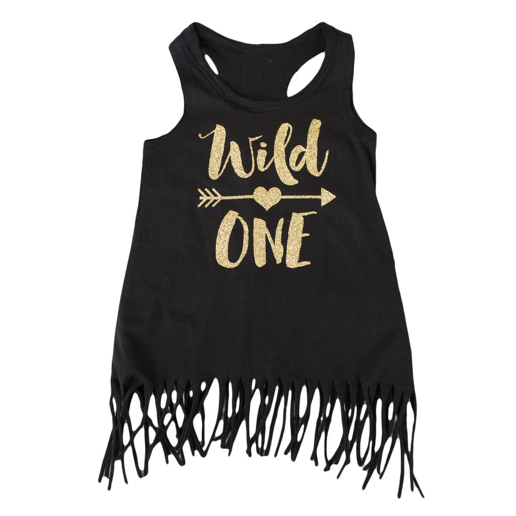 Wild One Girls 1st Birthday Dress Black and Gold Fringe Dress,Gold,12 Months