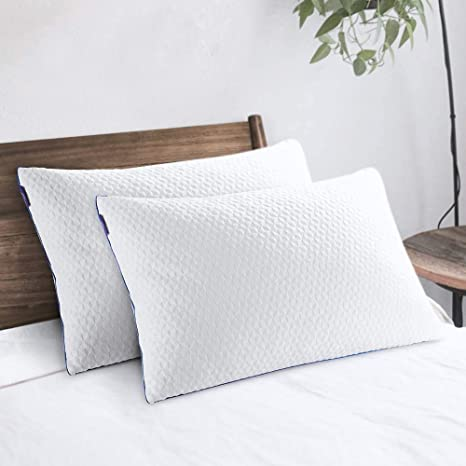 2 Pack Neck and Back Bamboo Memory Foam Queen Size Hypoallergenic Bed Pillow