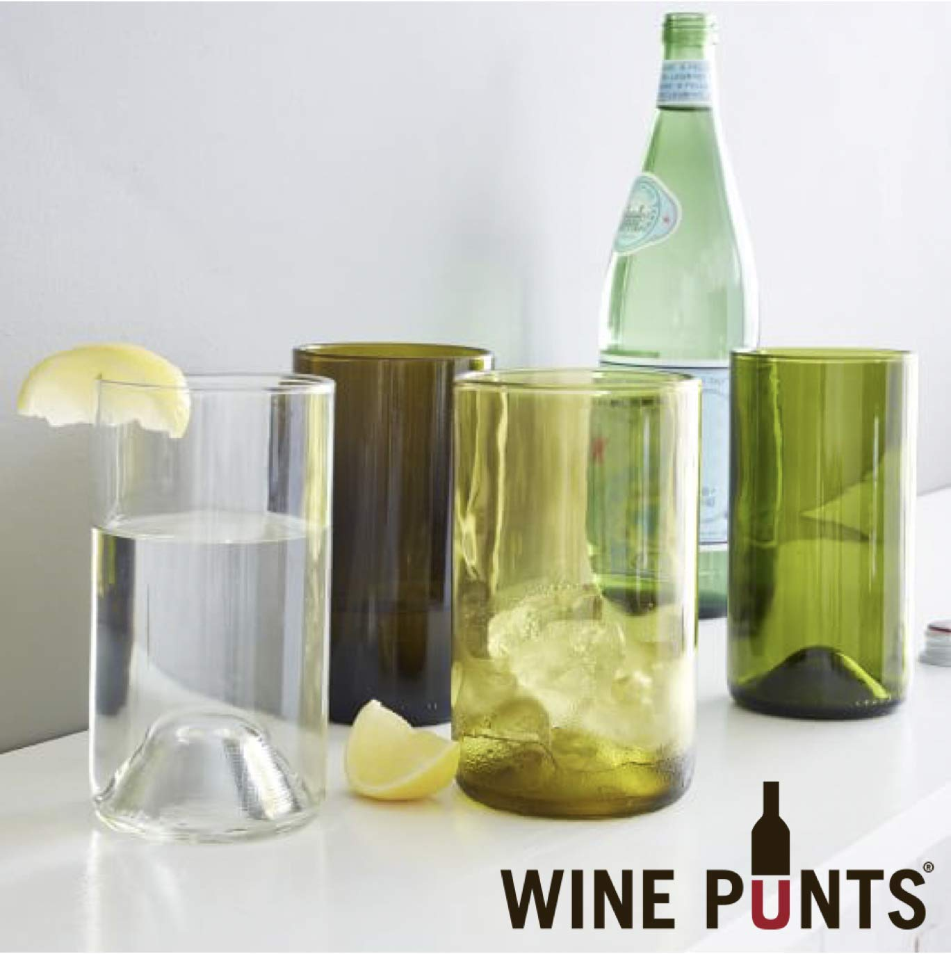 Wine Punts WP16AQUA-S-4 Drinking Glasses Set Of 4 Tall Aqua