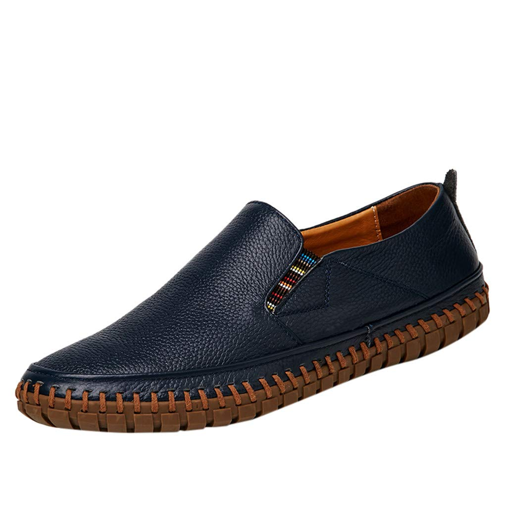 Men's Leather Loafers Casual Breathable Fashion Business Driving Boat Formal Shoes (US:7.5, Dark Blue) by Yihaojia Men Shoes (Image #1)