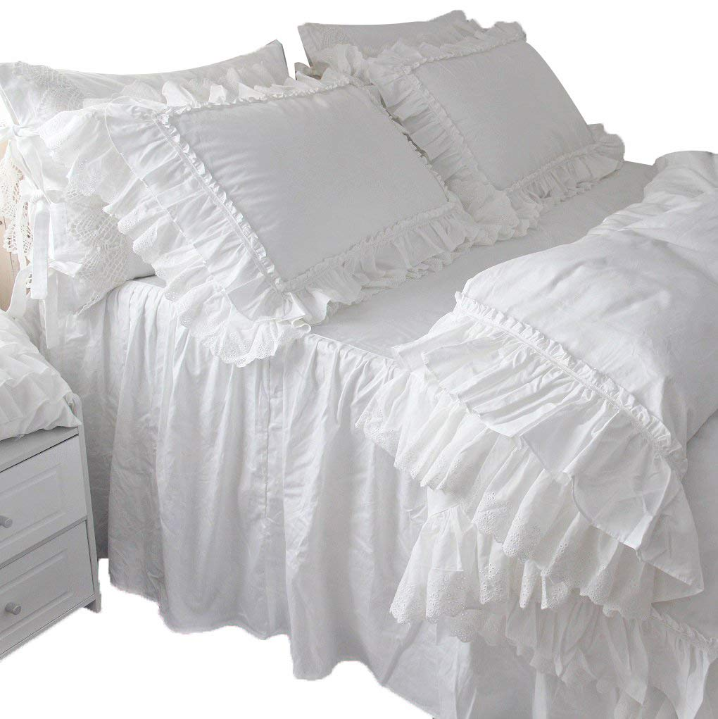 Queen's House Vintage Victorian Lace Duvet Cover White Bedding Twin Set Queen's House 171126-white-duvet-twin