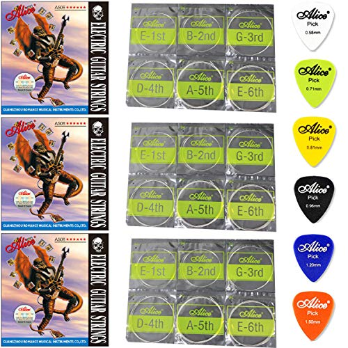 (3 Packs Alice A506 Electric Guitar Strings Extra Light (.008 .010 .015 .021 .030 .038) , Set of 6 , With 6 Gauges Guitar Picks 0.58/0.71/0.81/0.96/1.20/1.50 mm)