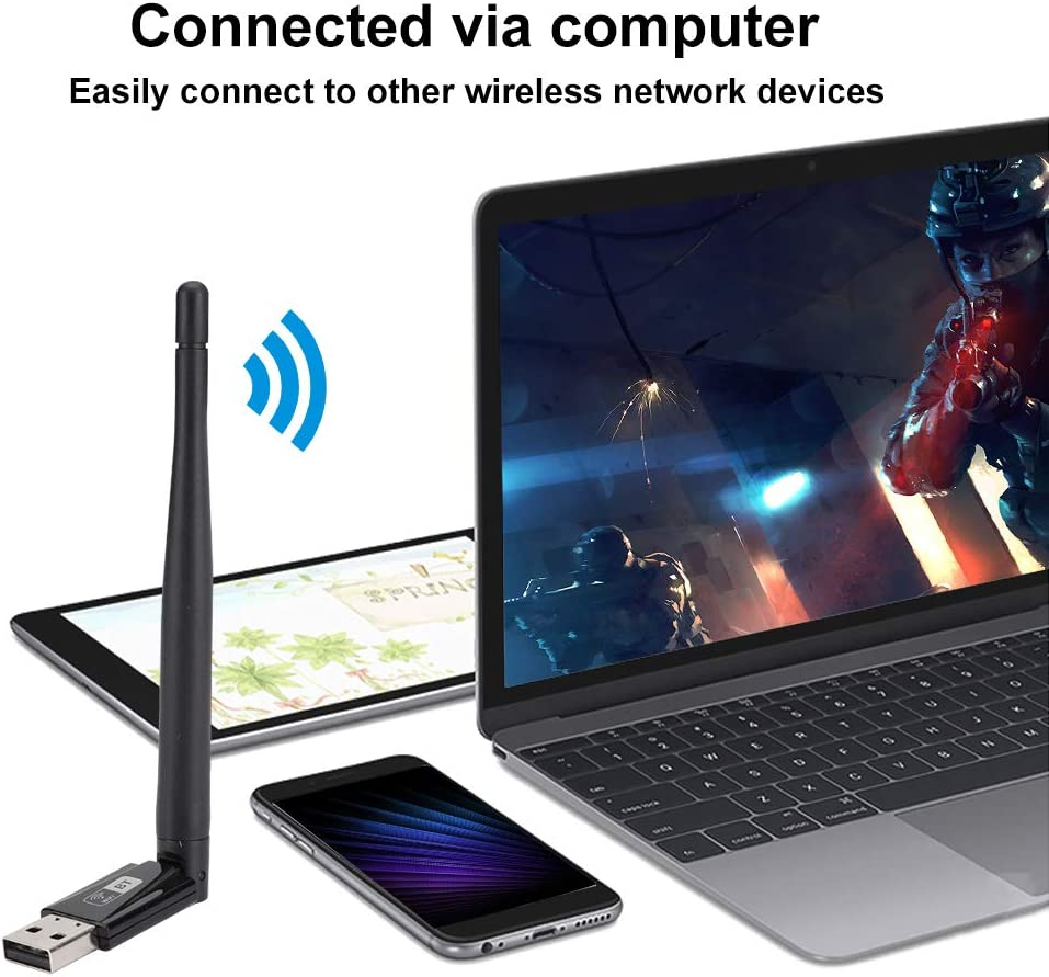 RTL8821CU 600M Free Drive Dual Band PC Wireless LAN Card for USB Bluetooth Adapter ASHATA Wireless Network Adapter