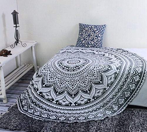 Popular Handicrafts Round tapestry Indian Mandala Round Roundie Beach Throw Tapestry wall hanging Hippy Boho Gypsy Cotton Tablecloth, Round Yoga Sheet 70