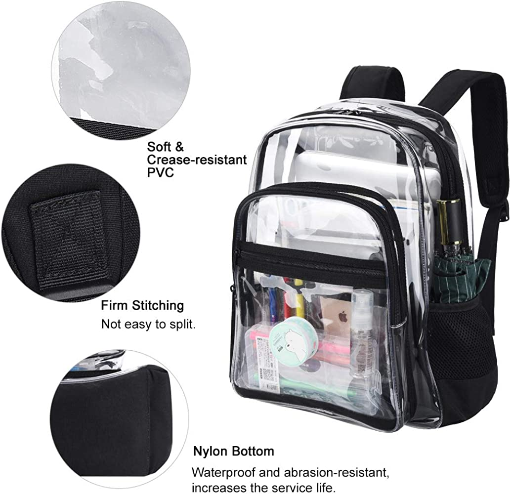 Clear Backpack Stadium Approved Durable Heavy Duty See Through Beach Daypack Perfect for Sports Games,Work VBG VBIGER Transparent PVC Plastic Bags Travel