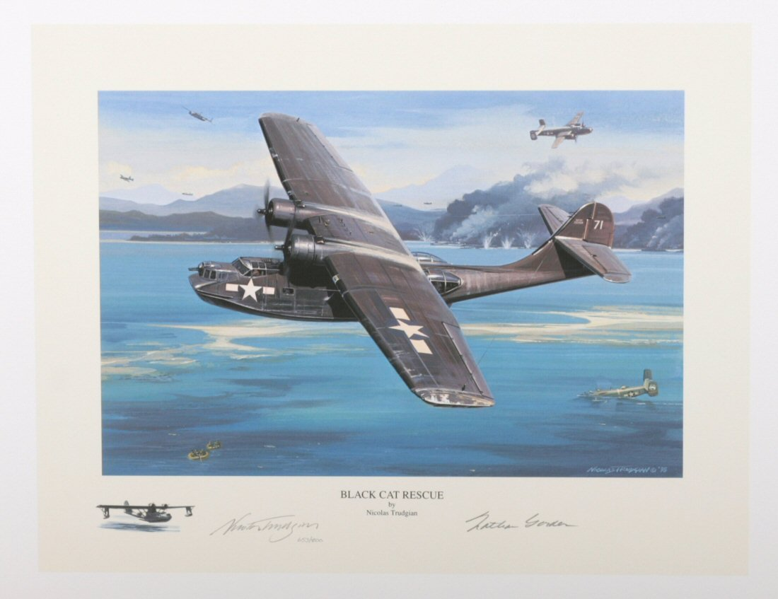 Black Cat Rescue by Nicolas Trudgian Signed Limited Edition US Navy Aviation Art Print with Pilot Signature.