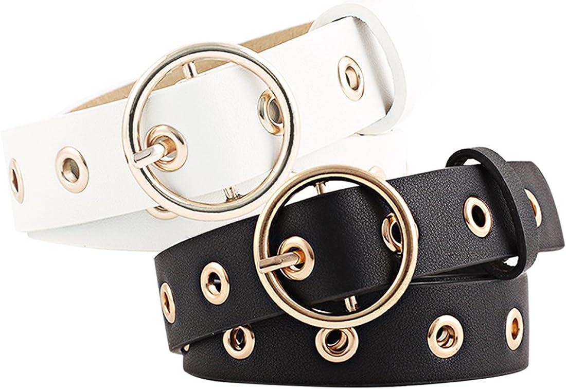uxcell Women Grommet Holes Studded Leather Belt 28mm Width 1 1/8 Black+White