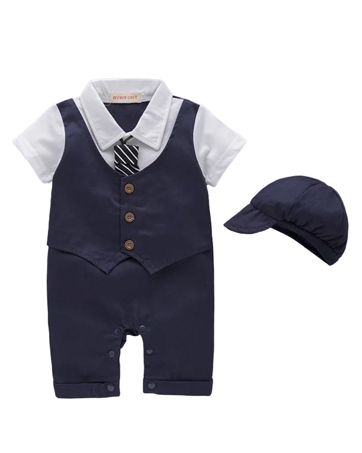 Kidsform Baby Boys Tuxedos Gentleman Suit Short Sleeve Onesie Vest Party Formal Outfit with Necktie Royal 90/18-24 Months