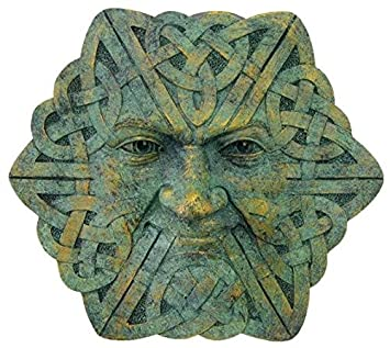 4 Inch Hand Painted Resin Greenman Celtic Face Wall Plaque