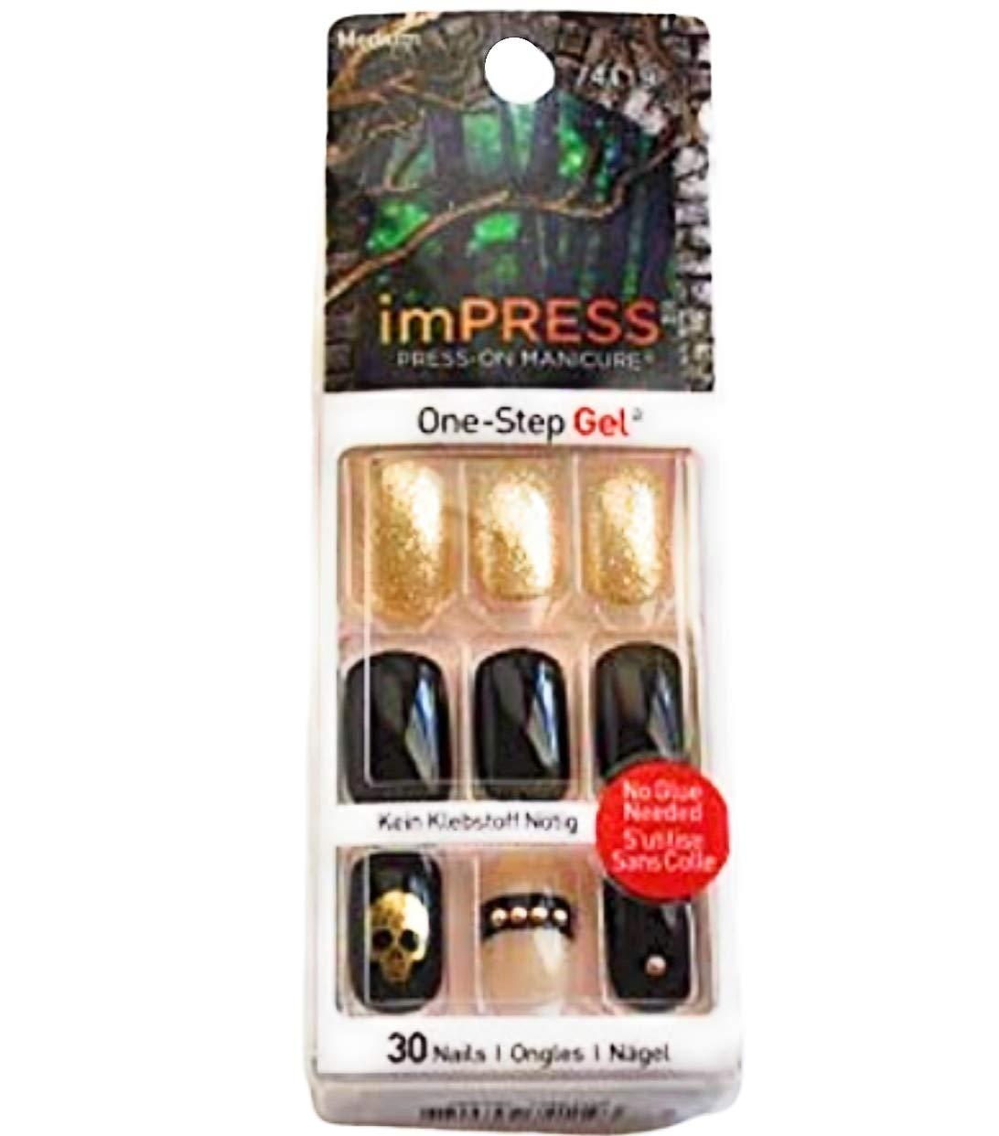 Impress Press-on Manicure Halloween Edition Medium Length, Square Shape Nails - Rouge by Impress