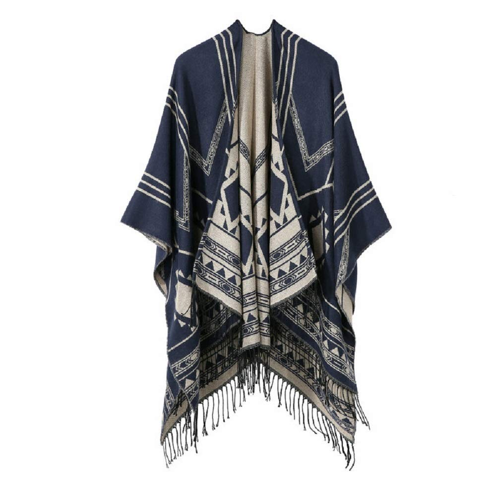 Excellent Women's Fall Winter Scarf Cloak Tassel Cape Mantle Scarf Ardent Easy Kerchief Wrap Shawl Scarves (Color : Blue, Size : 51.1 x 59.06 Inch') by Excellent