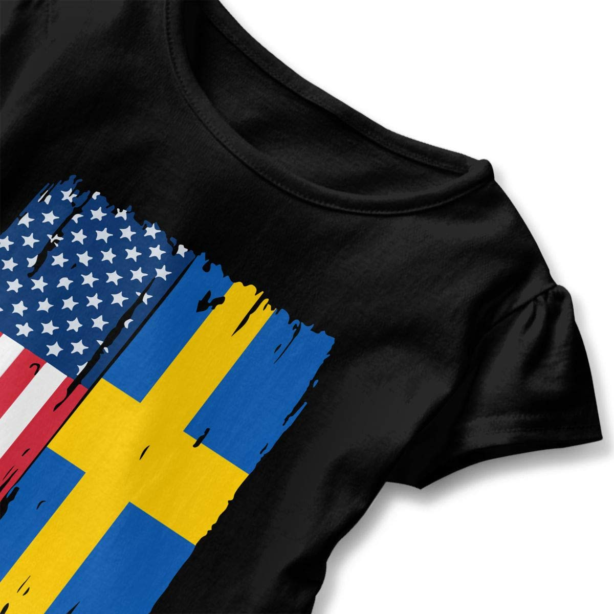 HYBDX9T Little Girls American Swedish Flag Funny Short Sleeve Cotton T Shirts Basic Tops Tee Clothes