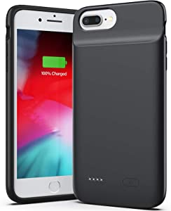 Swaller New Version Battery Case for iPhone 8 Plus 7 Plus 6/6s Plus, 5000mAh Slim Charger Case with Full Protection, Add 120% Battery Life, Thin Charging Case Compatible iPhone 8P/7P/6(s) P(Black)