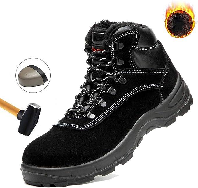 JIEFU Botas de Seguridad para Hombre Botas de Trabajo Forradas de Felpa de Invierno S3 Anti-Smashing Zapatos con Punta de Acero Impermeables Anti-Piercing para la construcción Industrial,Verde,8.5UK: Amazon.es: Hogar