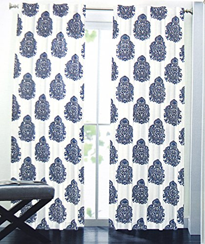 Captivating Nicole Miller Medallion Pair Of Curtains In Blue White Colors Medallion  Print China Paisley 52 By 96 ...