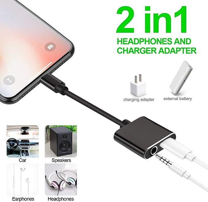 Adattatore jack per cuffie per iPhone X Adattatore 3,5 mm Aux Audio Stereo Cuffie Splitter Ricarica Connettore per cuffie per iPhone 11//X//XS////XS MAX//XR//7//7Plus//8//8Plus Supporto Tutto iOS