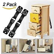 Baby Safety Anti Tip Furniture Straps ,Anchor Furniture TV Straps Safety & 4 Child Safety Lock - Dwarm All Metal Parts (2 x Black Strap Kit)