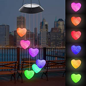 Solar Heart Wind Chimes Outdoor Romantic LED Color Changing Light Mobile Solar Garden Lights Ideal Gifts for Valentine's Day Mother's Day Birthday Festival Decor