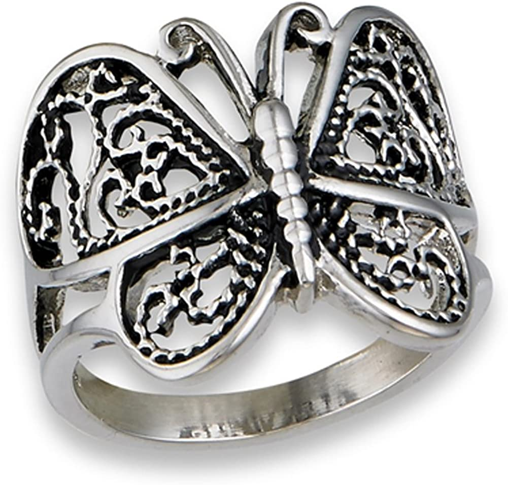 Butterfly Heart Filigree Wings Ring New Stainless Steel Animal Band Sizes 6-10