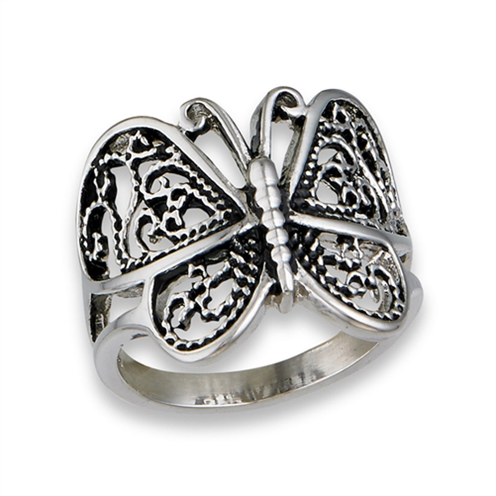 Butterfly Heart Filigree Wings Ring New Stainless Steel Animal Band Size 10
