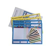House of Card & Paper Reward Chart, 4 Charts and 225 Foil Star Shaped Stickers per pack