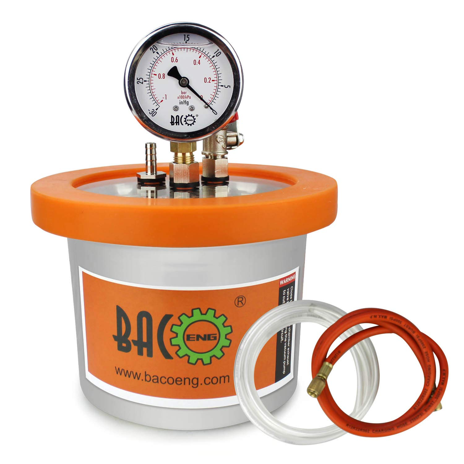 BACOENG 2 QT Stainless Steel Resin Trap Vacuum Degassing Chamber (3 Gallon/1.2 QT/2 QT Available) by BACOENG