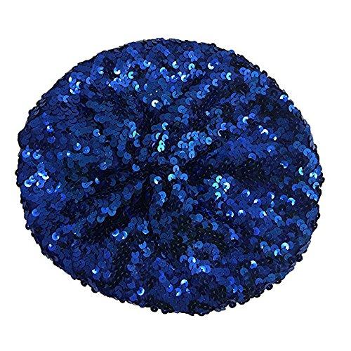 Mwfus Women's Stretch Metallic Shining Sequin Beret Hat Beanie Cap Dark Blue