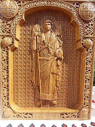 Archangel Gabriel Durable religious personalized gift housewarming gifts Wood Carved christian wall plaque FREE ENGRAVING FREE SHIPPING Gabriel Wall Plaque