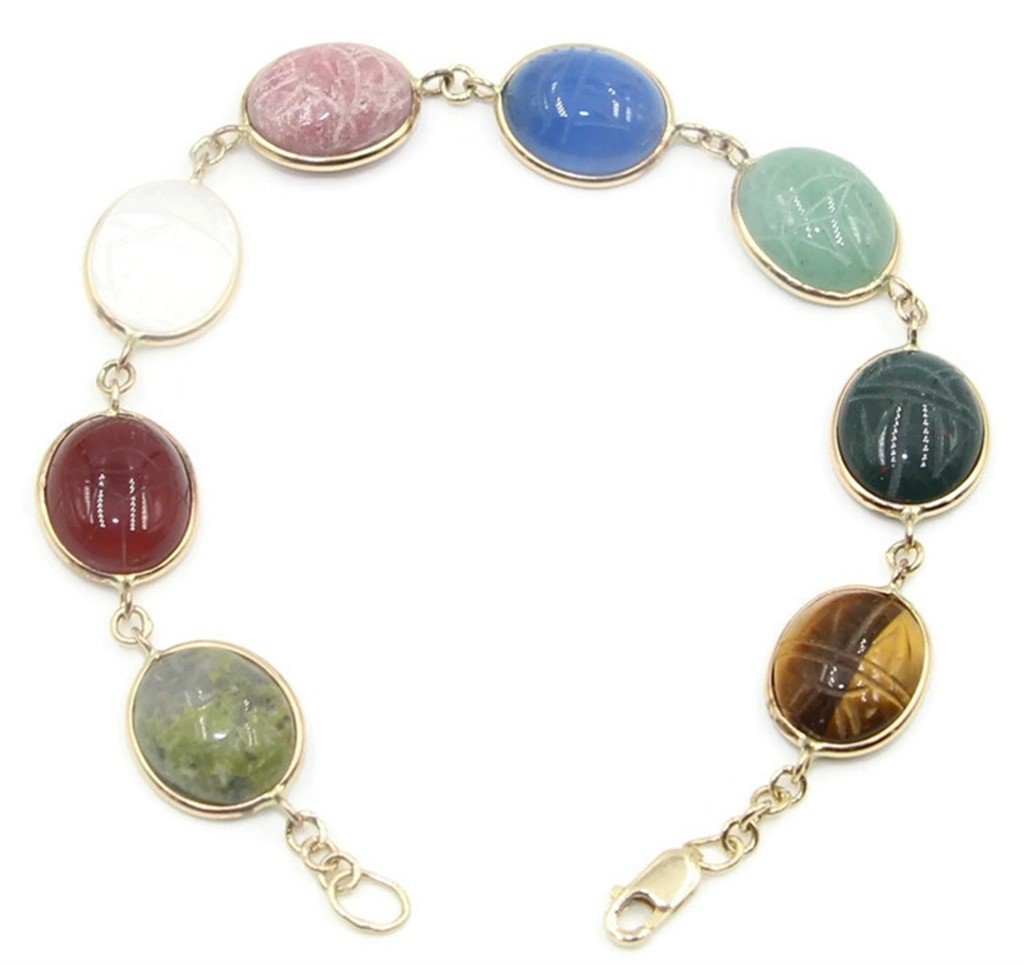 Scarab Multi-Color 7 '' Bracelet,14k Yellow Gold