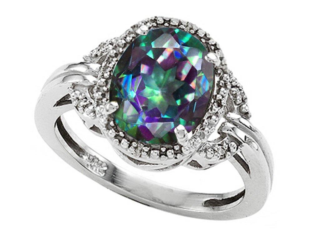 Tommaso Design Oval 10x8mm Mystic Rainbow Topaz Ring 14 kt White Gold Size 8
