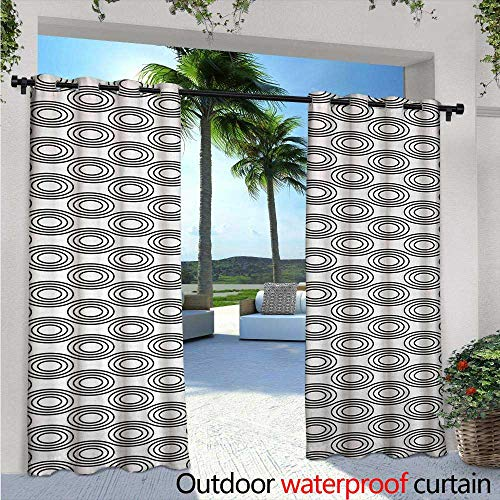 Black and White Outdoor- Free Standing Outdoor Privacy Curtain W96 x L96 Bullseye Pattern Monochrome Concentric Circles Minimalism Inspirations for Front Porch Covered Patio Gazebo Dock Beach Home (Light Bullseye Plum)