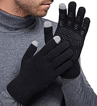 LETHMIK Mens&Womens Non-Slip Touchscreen Gloves Winter Warm Knit Wool Lined Texting Glove Mens Black