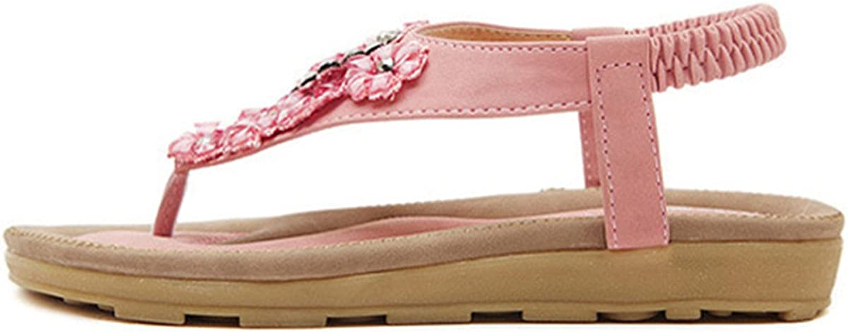 gracosy Beach Sandals,Womens Flower Bohemia Clip Toe Elastic Flat Lovely Sandals Beach Casual Shoes