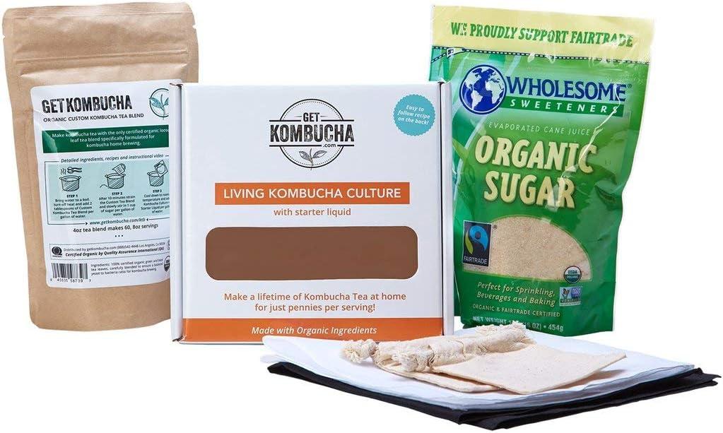 getkombucha, Kombucha Starter KIT, Make Raw Organic Kombucha Tea Starter Kit