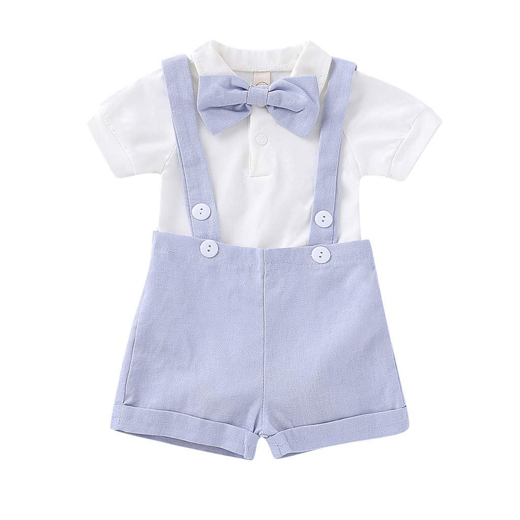 NUWFOR Infant Baby Boys Gentleman Solid Romper Suspenders Strap Shorts Outfits Set (Blue,6-12 Months)
