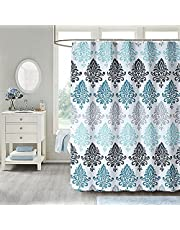 Shower Curtain - Fabric Shower Curtains Set Machine Washable Waterproof , Original Pattern, with 12 Free Hooks, Decorative Heavy Weighted Bathroom Curtains, (72 x 72 Inch, Light Blue Damask)